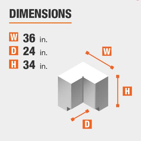 The dimensions for this kitchen cabinet are 36 in. W x 24 in. D x 34 in. H