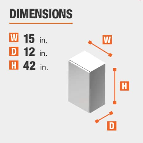 The dimensions for this kitchen cabinet are 15 in. W x 12 in. D x 42 in. H