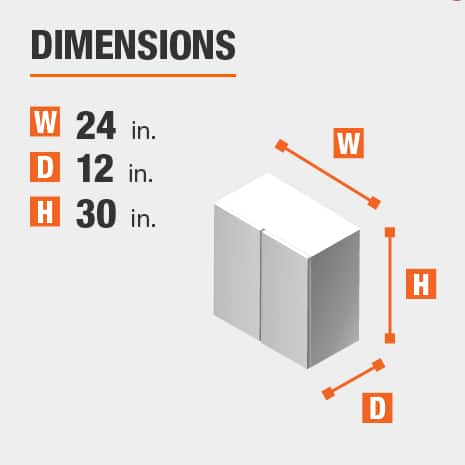 The dimensions for this kitchen cabinet are 24 in. W x 12 in. D x 30 in. H