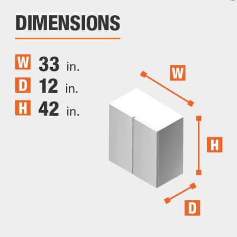 The dimensions for this kitchen cabinet are 33 in. W x 12 in. D x 42 in. H