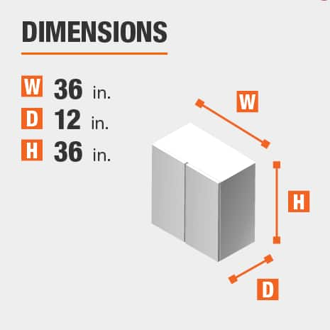 The dimensions for this kitchen cabinet are 36 in. W x 12 in. D x 36 in. H