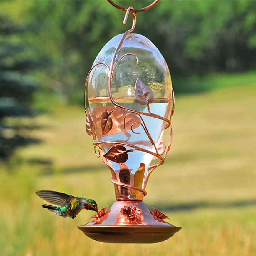 backyard flair, decorative glass hummingbird feeders