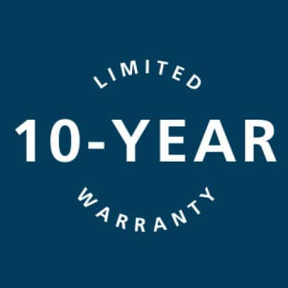 10-year limited warranty icon that accounts for both the steel slab and finish.