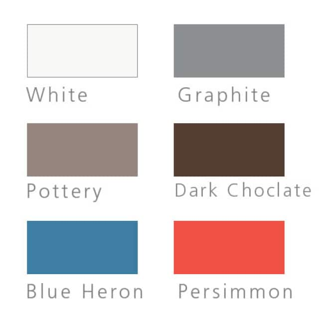 Six swatches of steel door color options: White, Graphite, Pottery, Dark Chocolate, Blue Heron, Persimmon.