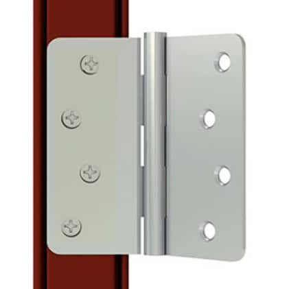 Close up visual of a door hinge typically used on steel doors.