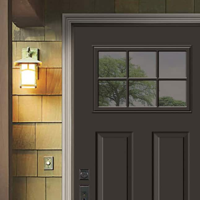 Top View Craftsman 6-Light 2-Panel Steel door in the Dark Chocolate color in the right two thirds of the image.
