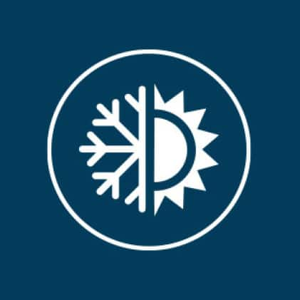 Circular icon, half snowflake half sun, representing how steel doors are designed to be energy efficient and are manufactured for maximum comfort.