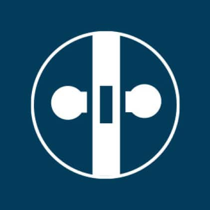 Icon of a bore and doorknobs, representing that the steel door slab is bored and ready for your choice of handle set.