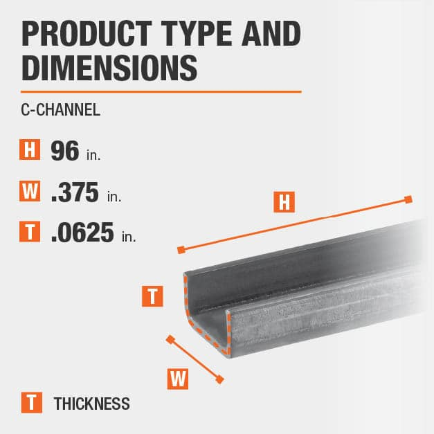 3/8 in. W x 1/2 in. H x 96 in. L Aluminum C-Channel with 1/16 in. Thick