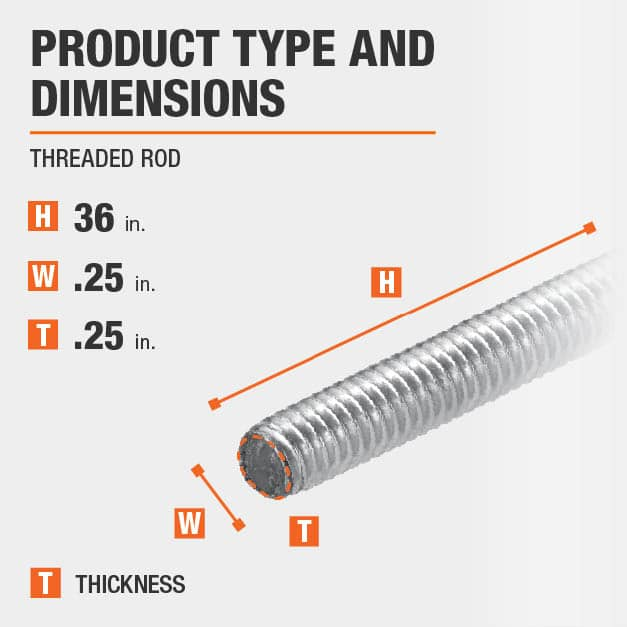 1/4 in.-20 tpi x 36 in. Stainless-Steel Threaded Rod