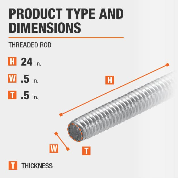 1/2 in.-13 tpi x 24 in. Stainless-Steel Threaded Rod