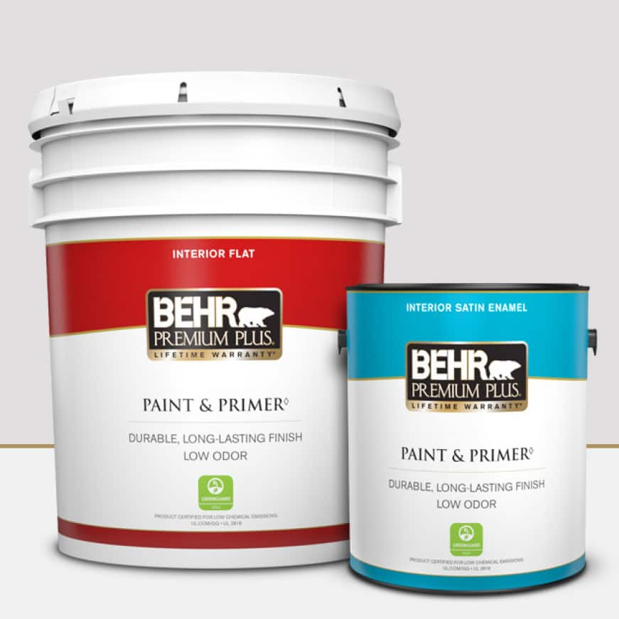 BEHR PREMIUM PLUS is available in 1 gallon and 5 gallons providing excellent hide and coverage