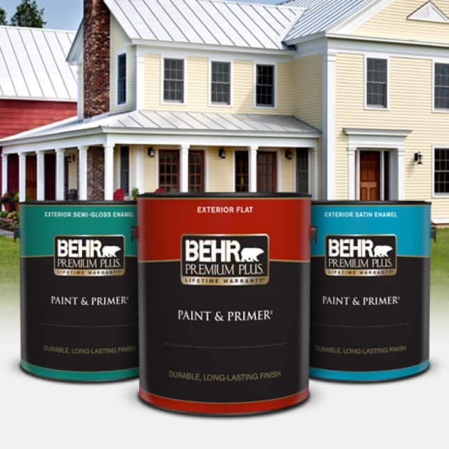 BEHR PREMIUM PLUS Exterior Paint cans