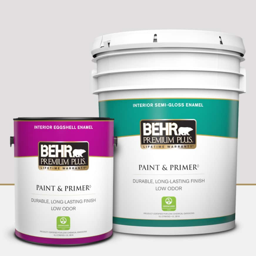 BEHR PREMIUM PLUS is available in one gallon and five gallons providing stain resistance