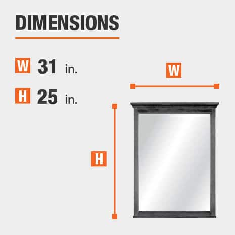 The dimensions of this bathroom vanity mirror are 31 in. W x 25 in. H