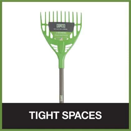 Shrub rakes for tight spaces