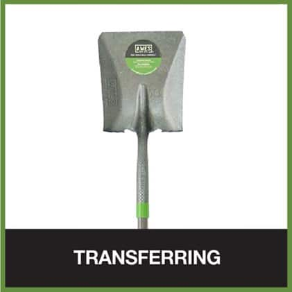 Square point shovels scoop and transfer materials