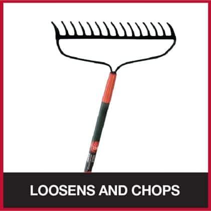 Bow rake for loosening and chopping