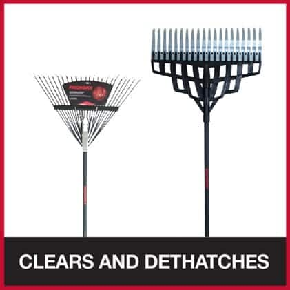 Leaf rake for dethatching and clearing leaves