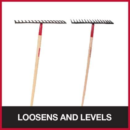 Level head rake and road rake for working with soil and gravel