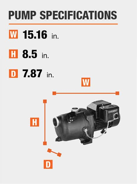 This pumps dimensions are 7.87 in. Depth x 8.5 in. Height x 15.16 in. Width.