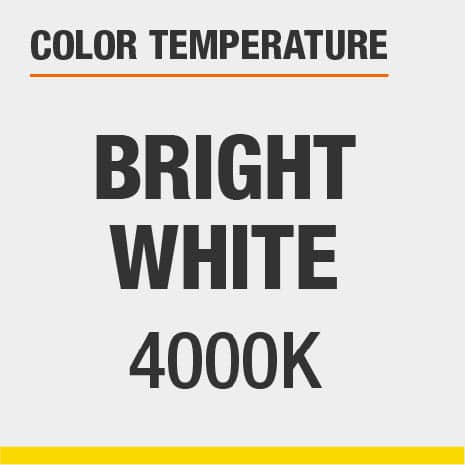 This is a bright white-colored light, with a color temperature of 4000 Kelvins.