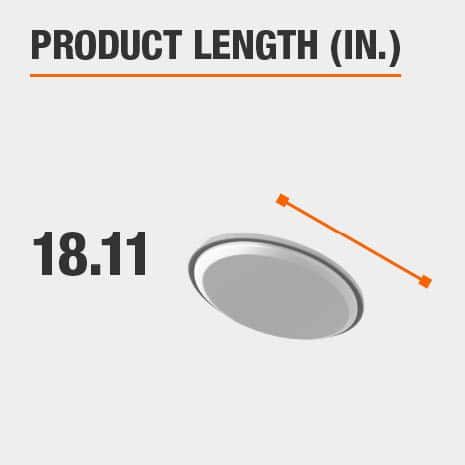 This light fixture has a length of 18.11 inches.