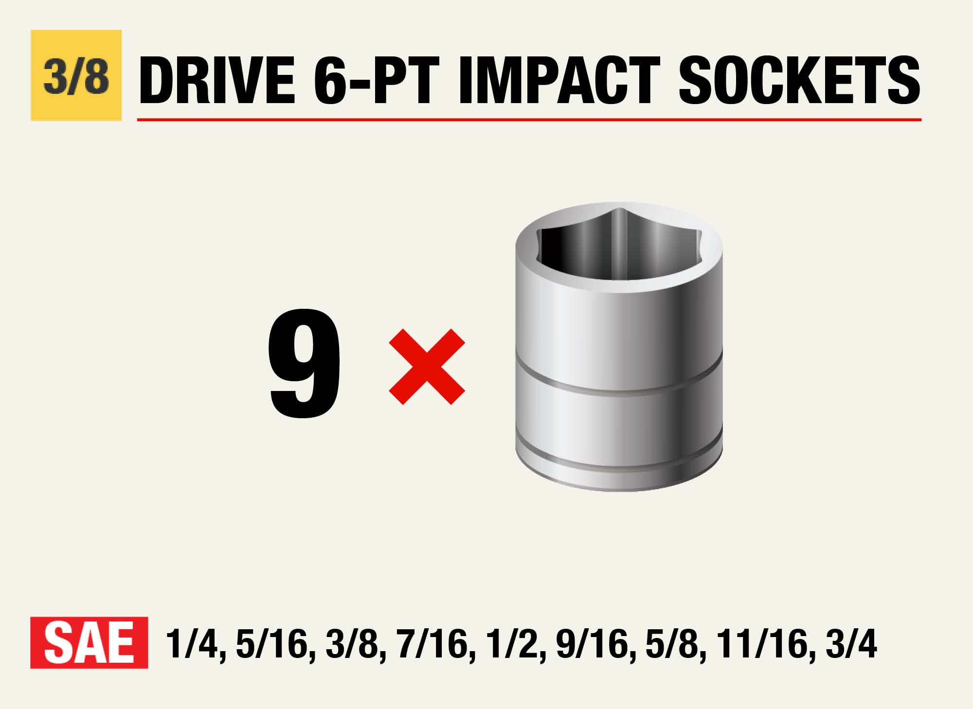 Husky 3/8 in. 6pt. Standard Impact Sockets