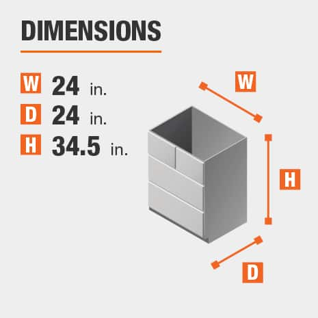 The dimensions for this kitchen cabinet are 24 in. W x 24 in. D x 34.5 in. H