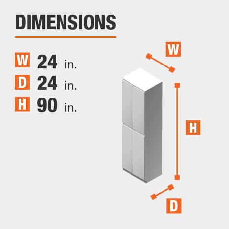 The dimensions for this kitchen cabinet are 24 in. W x 24 in. D x 90 in. H