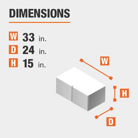 The dimensions for this kitchen cabinet are 33 in. W x 24 in. D x 15 in. H