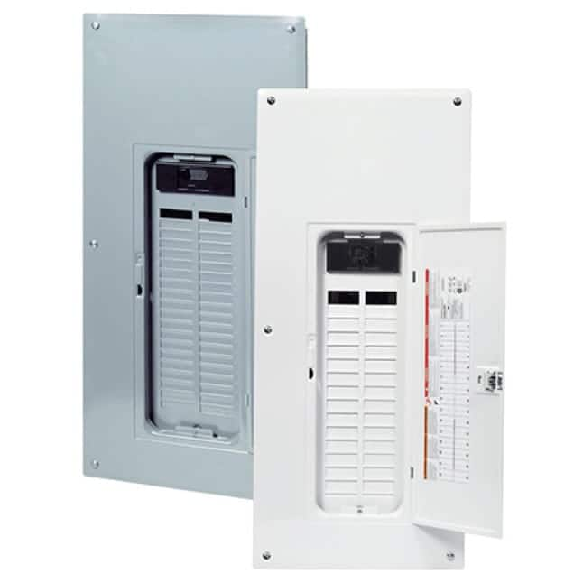 Gray combination cover for flush or surface mount installation included with load center. Replacement covers available.