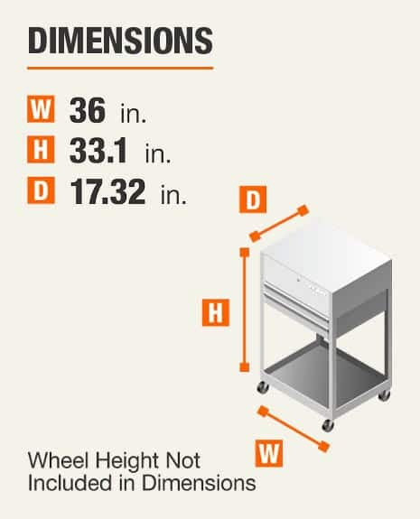 Dimensions 36 inches wide, 33.1 inches high, 17.32 inches deep. Wheel height not included In dimensions.