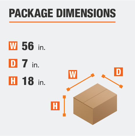 Shipment package is 56 inches wide, 7 inches deep, and 18 inches high