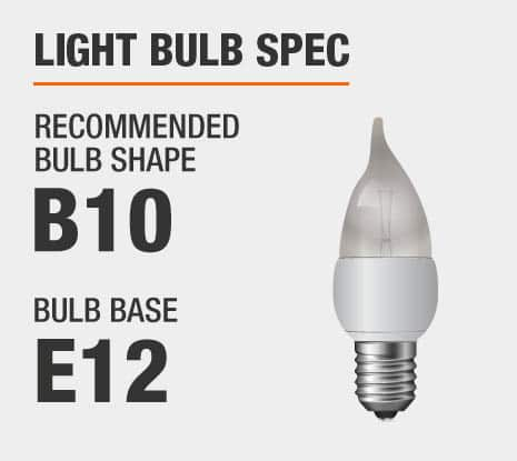 Recommended Bulb Shape: B10, Recommended Bulb Base: E12