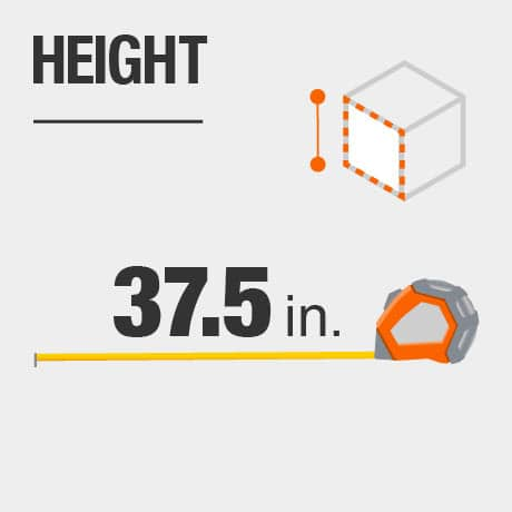 Tool chest height in inches.