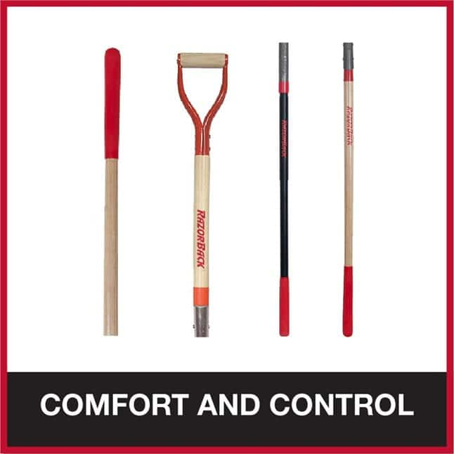 Handle and grips offer comfort and control