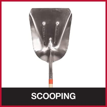 Square point shovel for scooping heavy material