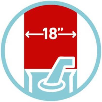 """icon of 18"""" clearing width"""
