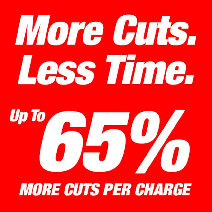 This is an image of Diablo's more cuts, less time, up to 65% more cuts per charge.