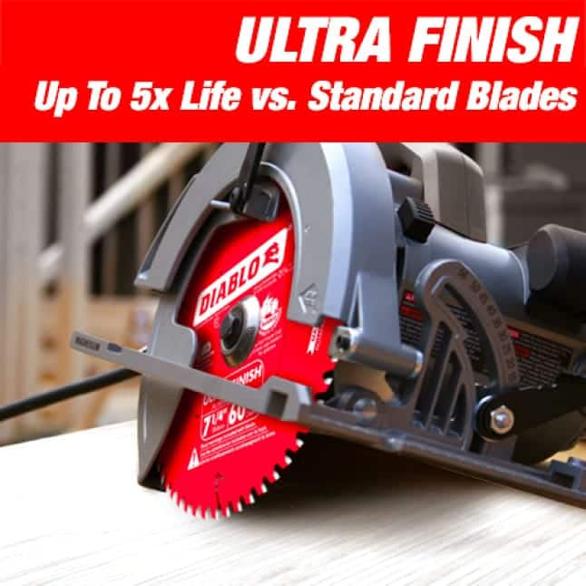 This is an image of a Diablo small diameter ultra finish circular saw blade.