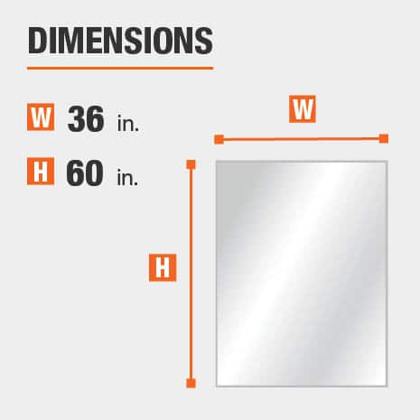 The dimensions of this bathroom vanity mirror are 36 in. W x 60 in. H