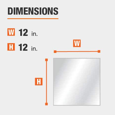 The dimensions of this bathroom vanity mirror are 12 in. W x 12 in. H