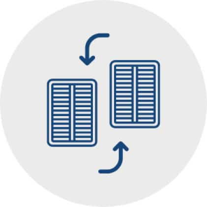 Blue icon of two filters with arrows on the top and bottom pointing from one to the other filter, representing the ease of replacing the filter.