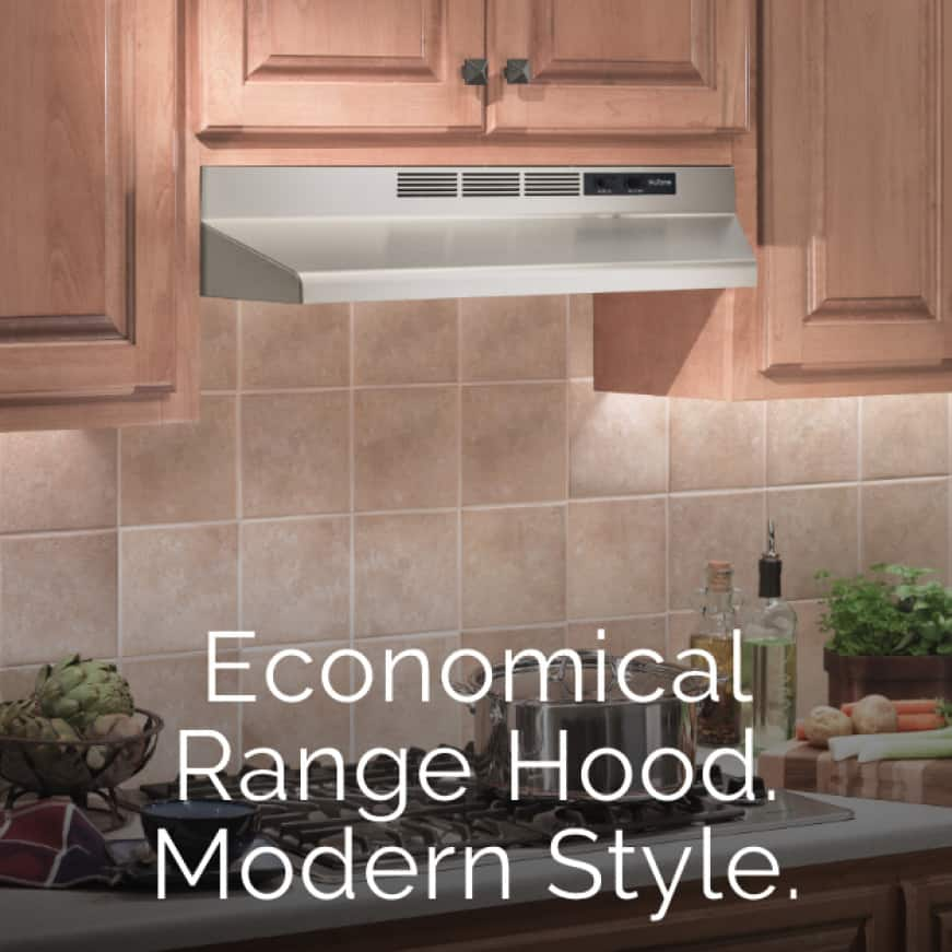 Image of a kitchen with a stainless steel range hood above the stove with words over the image that say: Economical Range Hood. Modern Style.
