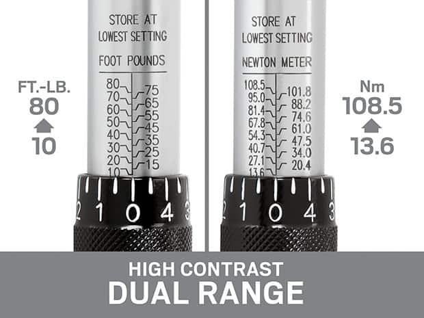 Close-up of dual range scale on TEKTON wrench