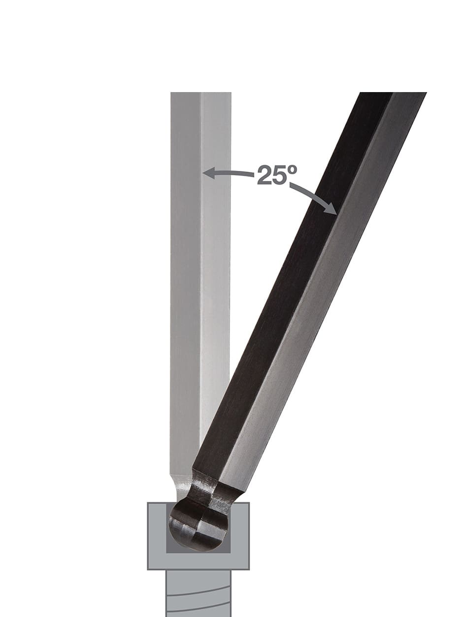 Image of ball end hex key showing 25 degree entry angle