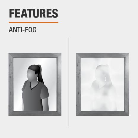 This bathroom vanity mirror is anti-fog