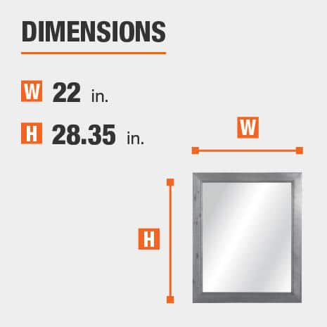 The dimensions of this bathroom vanity mirror are 22 in. W x 28.35 in. H