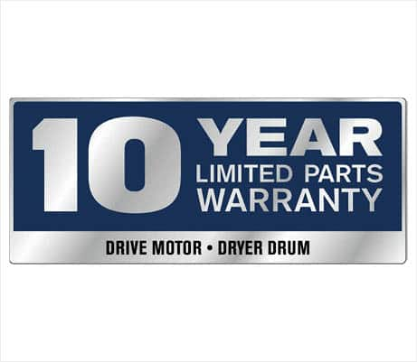 10-Year Limited Parts Warranty on the Drive Motor and Dryer Drum